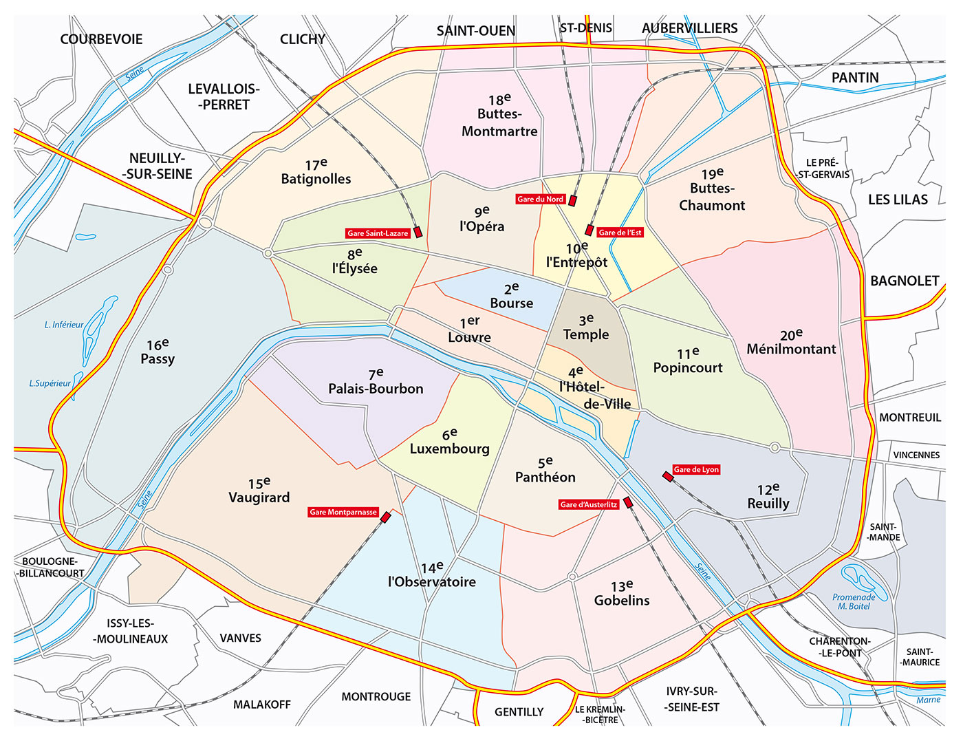 Paris Arrondissement De 20 Stadsdelarna Parisportalen Se